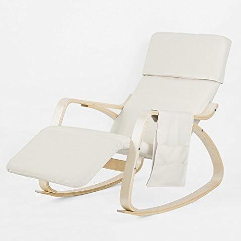 SoBuy® FST19-W Nouveauté ! Rocking Chair Fauteuil à bascule berçante avec repose-pieds réglable Bouleau Flexible -Nouveau support d'assise + 1 pochette latérale amovible
