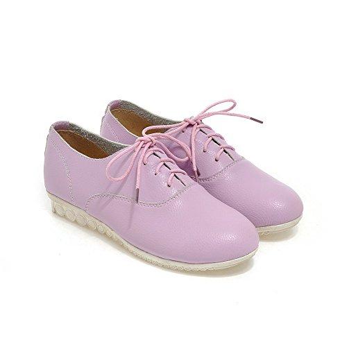 VogueZone009 Femme à Talon Bas Cuir de Bœuf Couleur Unie Lacet Rond Chaussures Légeres Violet