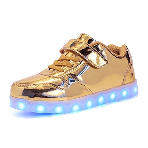 Aizeroth-UK Unisex Kinder LED Schuhe 7 Farbe USB Aufladen LED Leuchtend Outdoor Sportschuhe Low Top Atmungsaktives Ultraleicht Laufschuhe Gymnastik Turnschuhe Für Jungen Mädchen … (25 EU, Gold)