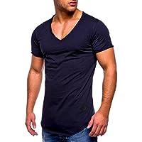 Yvelands Casual Muscle Camiseta de Manga Corta para Hombre Casual Guapo con Cuello en V de Color sólido Slim Fit Daily Shirts Top Blusa Party Beach Work Summer, Cheap Clearance!