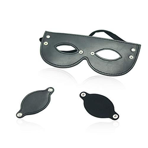 CS Fit Männer Und Frauen Sexspielzeug Abnehmbare Augenmaske Rot Schwarz PU Maske Bühnenmaske Blackout Schlafmaske Fun Toys (Color : Black)