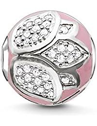 Thomas Sabo Femmes-Bead Fleur De Lotus Karma Beads Argent Sterling 925 Pavé d'Oxydes de Zirconium blancs rose K0203-041-9
