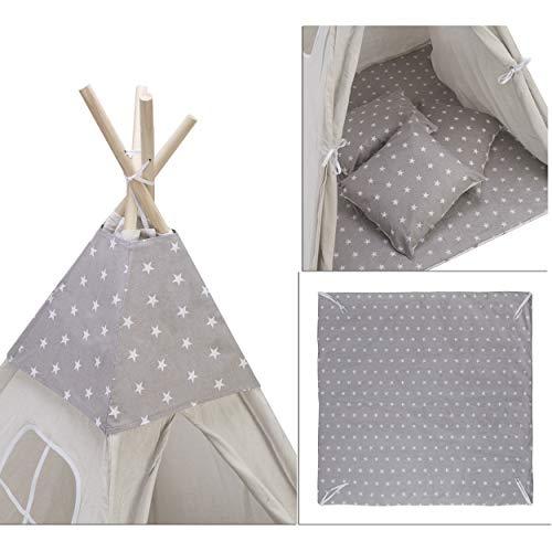 Amazinggirl Spielmatte mit Kissenbezug und dekorative Cape für Kinder Tipi Zelt Grau/Weiß mit Sterne Matte + 3 x Kissenbezug + Cape - Kind Cape