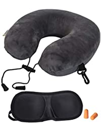 Store2508 Velvet, Cotton Memory Foam Travel Neck Pillow with 3D Eye Shade and Ear Plugs (Grey, Pack of One Set)