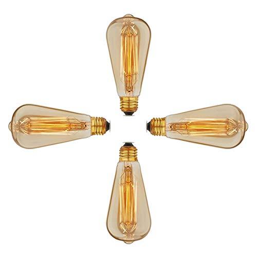 SidiOutil 4 Stk. Edison Glühbirnen 40W Vintage Glühbirne, Dimmbare Glühbirne, Glühlampe 220 V, E27 Sockel ST64 Glühbirnen für Restaurant Home Office Leuchten Dekorativ -