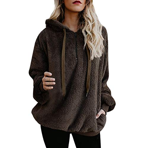 äumungsverkauf-Frauen mit Kapuze Sweatshirt Mantel Winter warme Wolle Reißverschluss Taschen Baumwolle Mantel Outwear (L, Y-Braun) ()