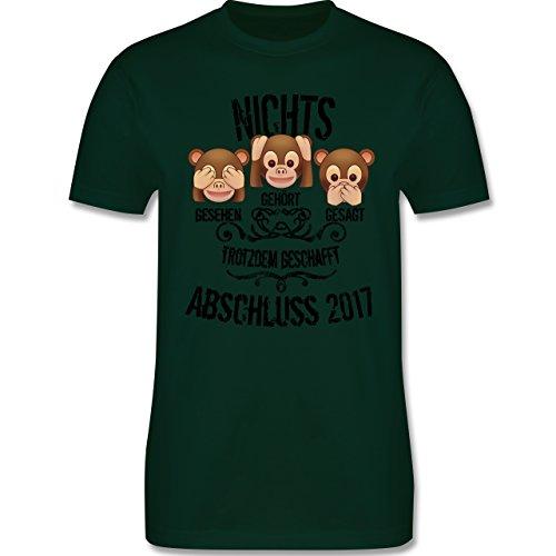 Abi & Abschluss - 3 Affen Emojis ABSCHLUSS 2017 - Herren Premium T-Shirt Dunkelgrün