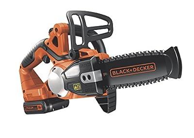 Black+Decker Li-Ion Akku-Kettensäge, Motorsäge (18V 2.0Ah, 20 cm Schwertlänge, 16 cm Schnittbreite, Ersatzkette) GKC1820L20K, schwarz orange