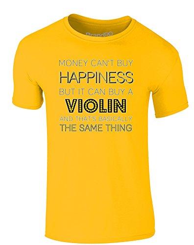 Brand88 - Money Can Buy A Violin, Erwachsene Gedrucktes T-Shirt Gänseblümchen-Gelb