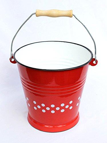 Preisvergleich Produktbild Eimer 108/22 Rot mit weißen Punkten Allzweckeimer mit Holzgriff emailliert 5 L.