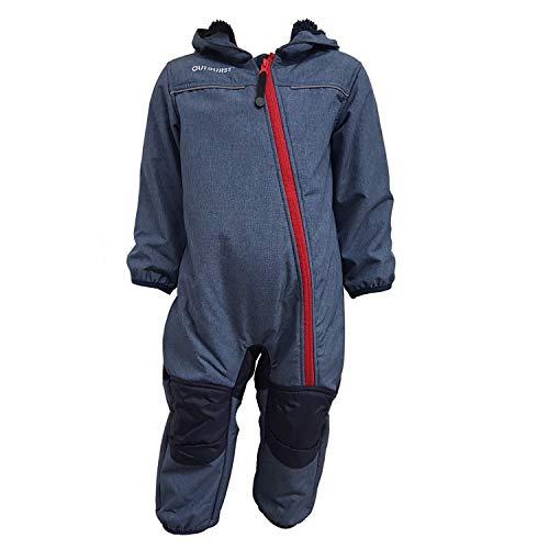 Outburst - Baby Kinder Softshell-Overall Schneeanzug gefüttert wasserdicht 10.000 mm Wassersäule atmungsaktiv Winddicht, blau Mel. - 3714254, Größe 92