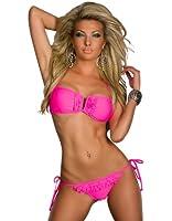 4295 OSAB Sexy Bandeau-Bikini mit süßen Rüschen Cup B in 7 Farben verfügbar