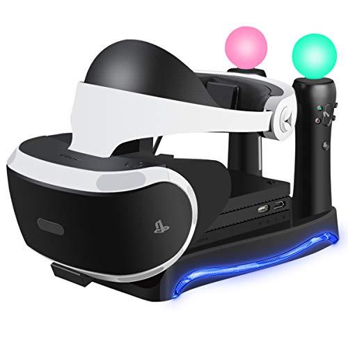 LIDIWEE Stand PSVR supporto per occhiali VR PlayStation 4 con LED luce ambientale e unità processore (CUH-ZVR2), Dual PSVR MOVE Controller PS4 Dock di ricarica