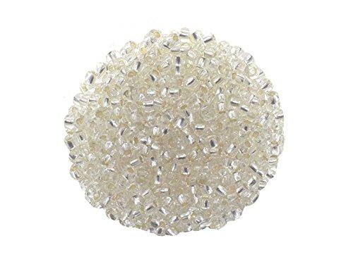 Creative-Beads Rocailles, Glasperlen, 2,6mm (9-0) mehr als 3000 Perlen Silbereinzug 50gr Beutel klar, -