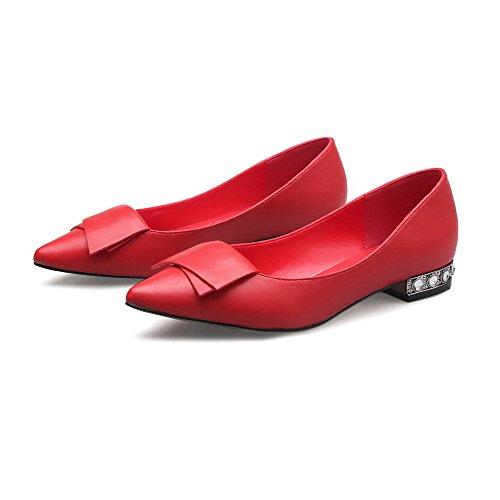 AalarDom Femme Tire Pointu à Talon Bas Couleur Unie Matière Souple Chaussures Légeres Rouge