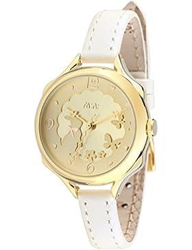 Mini Marke foxqueena-0623D Echt Leder Strap ausgehöhlten Kaninchen Lady Armbanduhr Gold