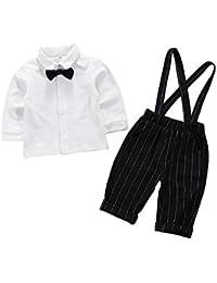 Traje de Caballero Blanco Camisa de Manga Larga Tirantes a Rayas adecuados para niños de 1-4 años de Edad