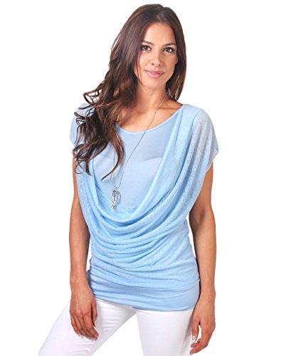 KRISP Doppelshirt Wasserfallkragen Top Blau (4749)