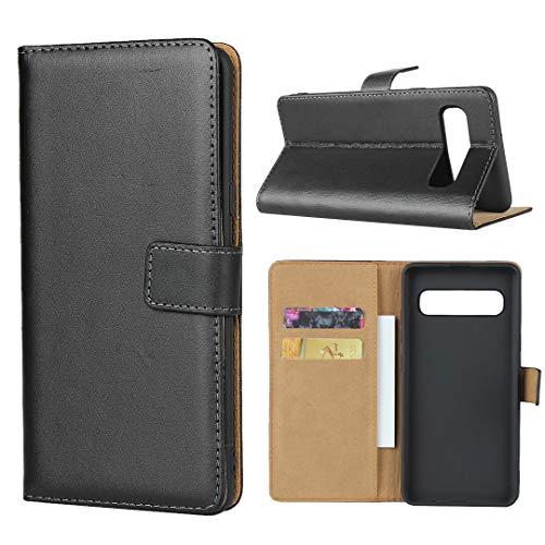 5g Cover (xinyunew Hülle Kompatibelmit Handyhülle Samsung Galaxy S10 5g Tasche Leder Flip Case Brieftasche Etui Schutzhülle für Samsung Galaxy S10 5g Cover - Schwarz +(Displayschutzfolie))