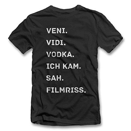 Veni Vidi Vodka Ich Kam Sah Filmriss T-Shirt S-XXL 12 Farben / Colours Grau