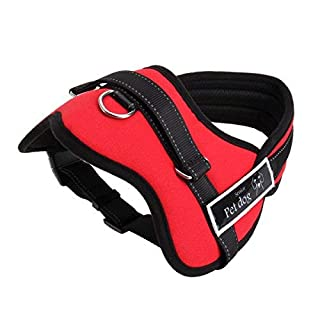 Soft Padded Dog Harness Adjustable No Pull Walking Training Assistance Chest - Red Medium