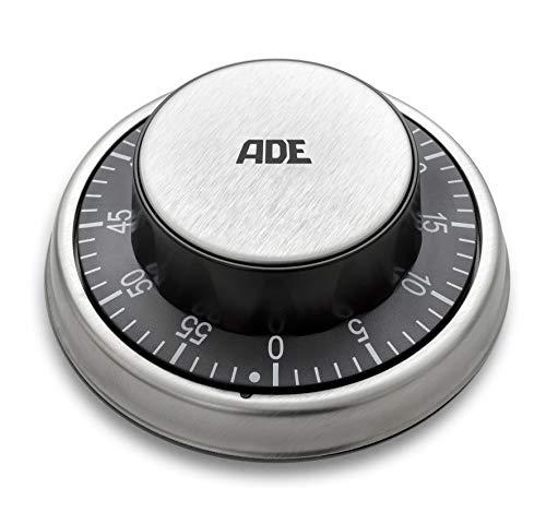 ADE TD 1304 Mechanischer Küchentimer. Klassischer Kurzzeitmesser zum Aufziehen. Aus ABS-Kunststoff und gebürstetem Edelstahl. Magnetaufhängung, akustisches Signal nach Zeitablauf. Eieruhr. Schwarz