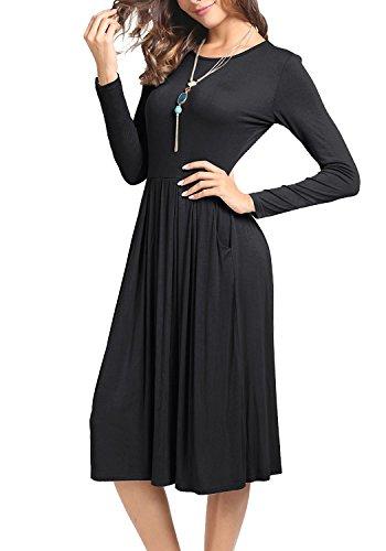 Suimiki Damen Stretch beiläufiges Rundhals Falten Midi Kleider Swing Basic Kleider mit Taschen Schwarz