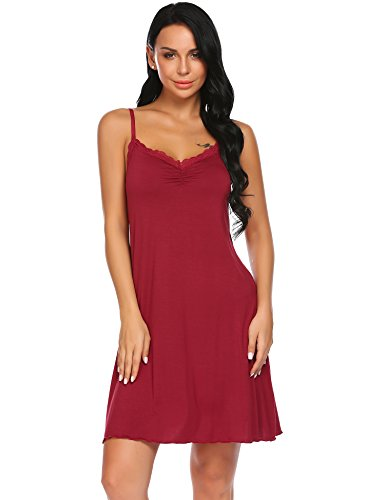 Unibelle camiciadanotte donna babydoll pigiama vestaglia abito scollo a v in pizzo pigiami nightdress rosso xxl