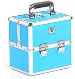 Urbanity Small Aluminium Makeup Cosmetic Beauty Vanity Case Box Neon Blue