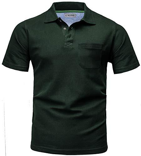 CRONE Basic Herren Pique Poloshirt Regular Fit mit Brusttasche (XXL, Dunkelgrün)