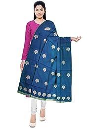Mubarakpur Weaves' Women's Cotton Silk Handloom Dupatta (Sea Green)