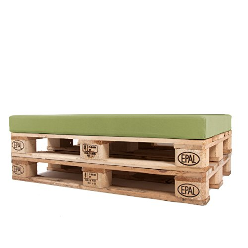 Arketicom Pallet One CHEOPE - Cojin Asiento para Sofa en Euro Palet con tejido para Exterior Impermeable y Desenfundable - interior Espuma de Poliuretano Alta Densidad Made In Italy Hecho a ManoMedidas 80x120x10 Cm: Color 026-Pistacho