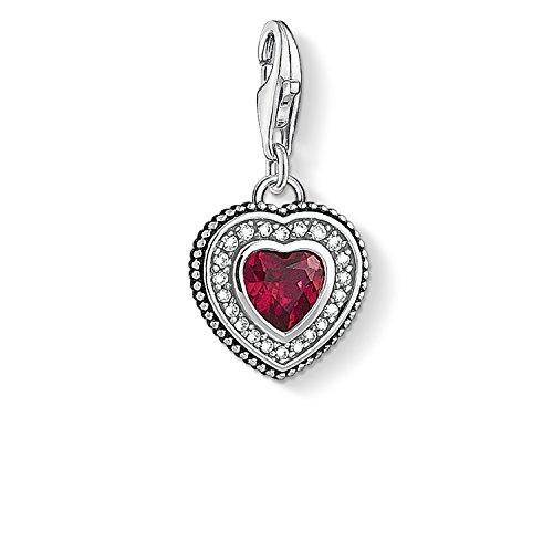 Thomas Sabo Damen-Anhänger Herz mit rotem Stein 925 Sterling Silber 1478-640-10