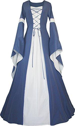 Dornbluth Damen Mittelalter Kleid Johanna Indigo (36/38, Indigo-Ecru)