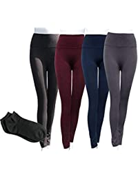 e6b39c97934b3 Sofra Women's Classic High Waisted Wide Band Yoga Fleece Plus Size &  Regular Leggings