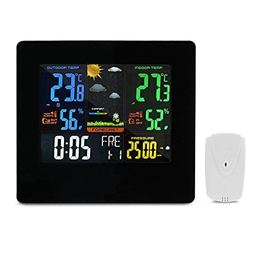 EleLight Funkwetterstation Funk mit Außensensor Wetterstation Digital Farbdisplay mit Weckfunktion LED-Anzeige