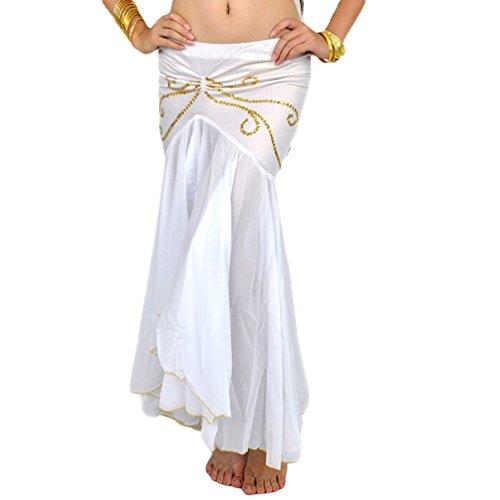 Yuandian donna chiffon fishtail danza del ventre gonna lunga irregolare elegante professionale arabian oriental belly dance fusione tribale gonne costumi abiti bianco