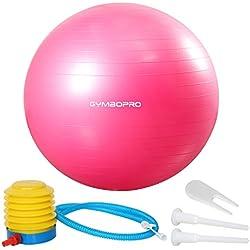 Fitness Pelota de Ejercicio - Bola Suiza con Bomba de Inflado ,Bola de yoga antirrebote y antideslizante,Bola de equilibrio para gimnasio Pilates Gimnasio de yoga (55 cm,Rosado)
