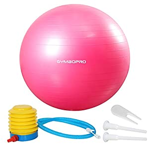 GYMBOPRO Gymnastikball 25cm/55cm/65cm/75cm, Yoga Ball Fitnessball mit Pumpa für Yoga, Pilates, Fitness, Balance Ball für Core Strength