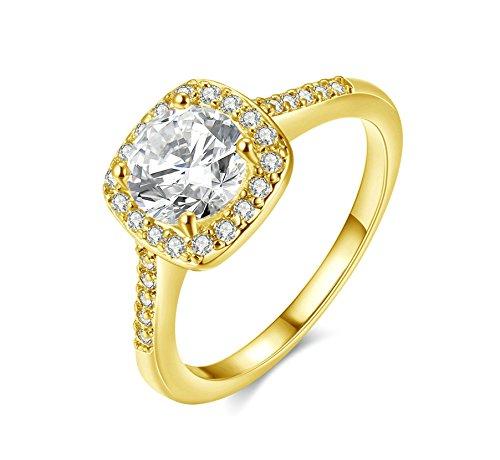Jiedeng Schmuck Damen Ringe aus Vergoldet Ring mit Zirkonia CZ Verlobungsringe Trauringe Ehering Hochzeitsringe für Damen Frauen Ringe Gold Größe 52 (16.6)