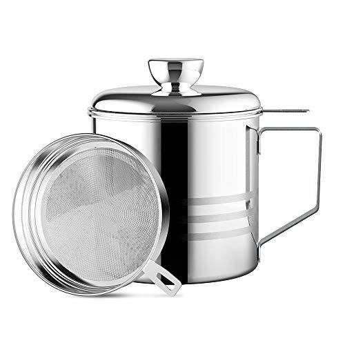 Chihee Filtro de Aceite, Recipiente de Grasa en Lata, 1,2 L Acero Inoxidable. Recipiente o pote de Lata con Filtro de Malla Fina, Adecuado para almacenar Aceite de fritura y Grasa de Cocina