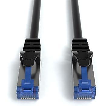 JAMEGA - 4m CAT.7 Netzwerkkabel Patchkabel Gigabit Ethernet DSL LAN in schwarz | 10Gbit/s | 600MHz | Cat-7 Kabel S/FTP PIMF Schirmung mit RJ45 Stecker | Router Switch Modem Access Point