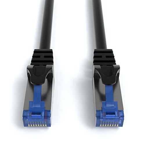 4m CAT.7 Netzwerkkabel (RJ45) Patchkabel Ethernet Lan in schwarz| 10Gbit/s | 600MHz | abwärtskompatibel zu CAT.5 / CAT.5e / CAT.6 | von JAMEGA