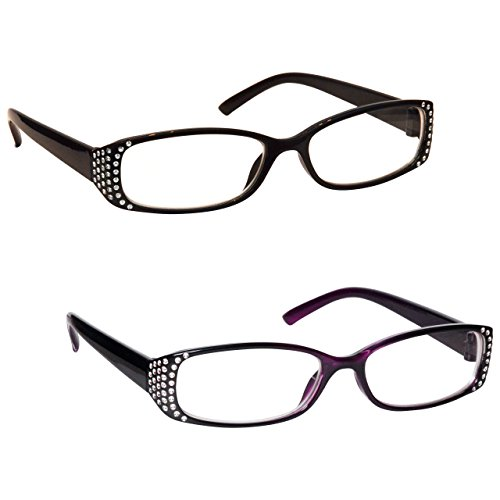 The-Reading-Glasses-Company-Black-Black-Purple-Diamonte-Style-Readers-Value-Womens-Ladies-UVR2093BKP-Strength-150-by-UV-Reader