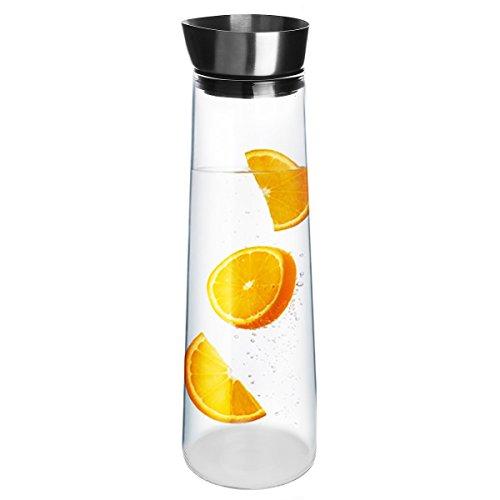 Evilandat 1.5L / 1L Glaskaraffe Glas Wasser Karaffe mit Filiter Wasserkrug mit Griff Für Heiße Kalte Getränke mit Deckel aus Edelstahl und Holz Moderne Optik