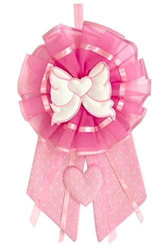 Fiocco nascita rosa cuore fiocco con ricamo