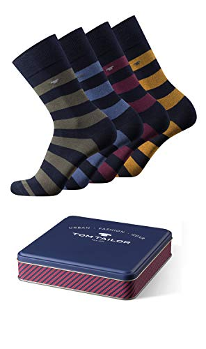 TOM TAILOR Geschenkbox Herren Socken 4er pack exklusiver Metall bunt gestreift weiches Bündchen, Size:43-46