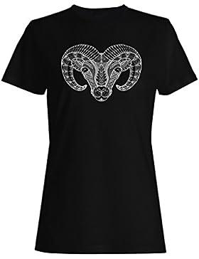 Mano dibujada cabra de fondo camiseta de las mujeres g586f