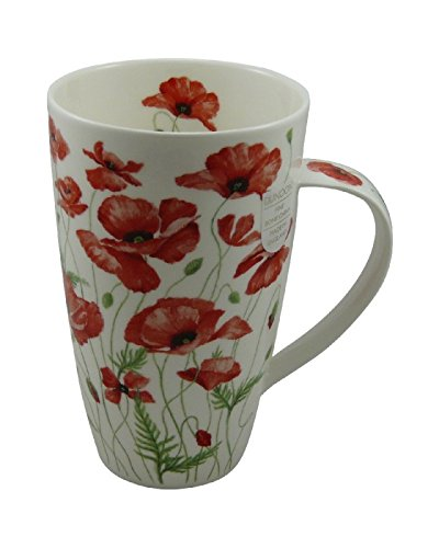 Dunoon Tasse Fine Bone China Porzellan Poppies by Anne Searle rot 600ml