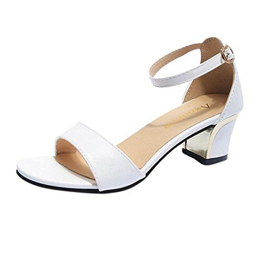 Somesun sandali col tacco da donna moda massaggio estivo traspirante in pelle sintetica scarpe da ginnastica a punta morbida morbide scarpe con tacco alto da barca (eu36, bianco)